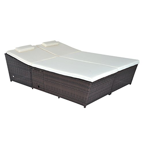 Outsunny Outdoor Rattan Wicker 2-Person Daybed w/ Side Tables - Walnut Brown