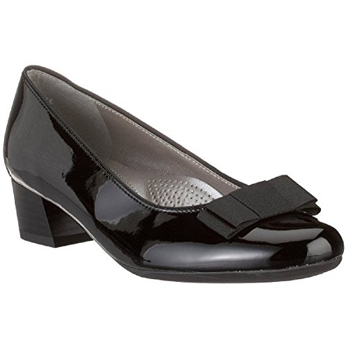 Ladies heeled Black Womens Court ARA Bow low Shoes Patent NIZZA With 5 45812 5ngIxwq0