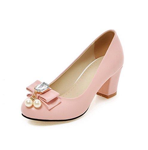 VogueZone009 Damen Weiches Material Rund Zehe Mittler Absatz Eingelegt Pumps Schuhe Pink
