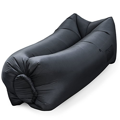 Large Hammock Pillow - Large Portable Air Lounge Sofa: Indoor Outdoor Nylon Wind Inflated Hammock Beach or Pool Float & Camping Sun Lounger - Recreation Loungers Include Storage Pocket, Inflatable Pillow & Cell Phone Pouch