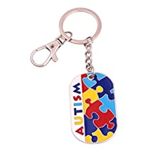 Huilin Jewelry Autism Awareness Identification military dog tag style Puzzle Piece pattern ID Key Chain