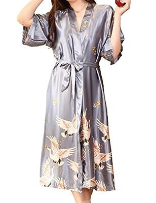 Aensso Women's Satin Robe Long Kimono Bathrobe Short Sleeve V-neck Nightgown