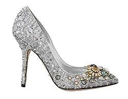 Silver Sequined Crystal Pump Heels