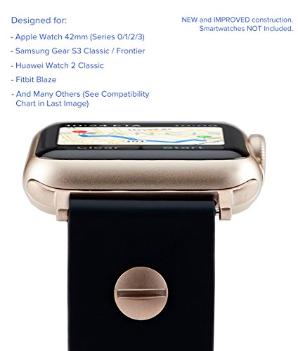 Truffol Driver 22mm Soft Silicone Rubber Sport Band for Apple Watch 42mm, Samsung Gear S3 Frontier & Classic, Huawei Watch 2 Classic - Replacement Quick Release Watch Strap (Black/Champagne Gold)