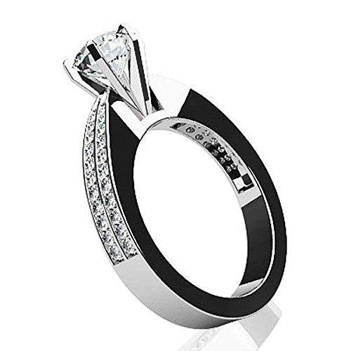 Or blanc 14K élégant Six griffes Diamant Bague de fiançailles
