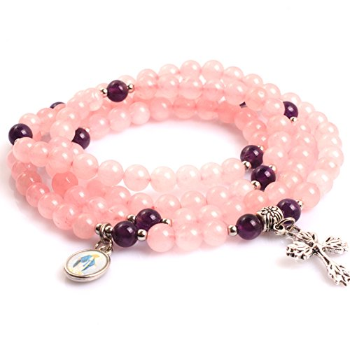 Gem-inside 6MM Natural Pink Quartz Handmade Christian Catholic Cross Prayer Rosary Bracelet Unisex Jewelry 30
