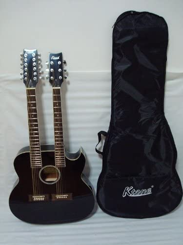 Black with Case New 6//12 String Acoustic Electric Double Neck Guitar