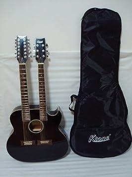 ktone 6/12 cuerdas acústica eléctrica doble cuello guitarra, 4 ecualizadores, Cutaway, Negro/W funda: Amazon.es: Instrumentos musicales