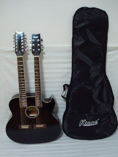 Ktone 6/12 String Acoustic Electric Double Neck Guitar, 4eq, Cutaway, Black /W Gig Bag by Ktone (Image #3)