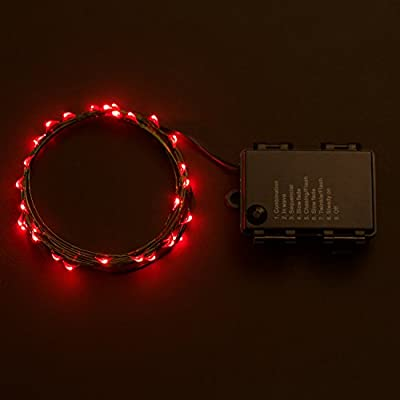 Rtgs Micro LED 30 Super Bright Red Color Indoor and Outdoor String Lights Battery Operated on 10 ft Long Green Color Ultra Thin String Wire with Automatic Timer and 8 Functions