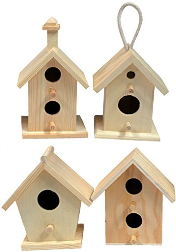 Creative Hobbies Mini 4 Inch Tall Birdhouse, Set of 4 Styles, Unfinished Wood Ready to Paint or -