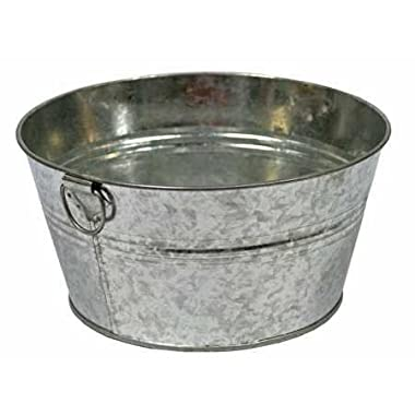 Set of 2 Galvanized Metal Wash Tub Style Pails with Handles