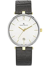 890STG012 Marion Two Tone IP Gold with Black Leather Strap Slim Watch