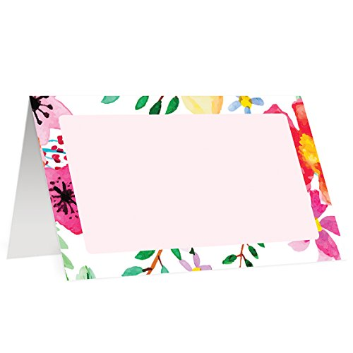Tropical Flowers Place Cards (50 Pack) Double Sided Placecard Escort Blank Fill In Name Table Tented Folded Assigned Seating Tag Food Buffet Label Colorful Digibuddha Decor 3.5 x 2 Inches -