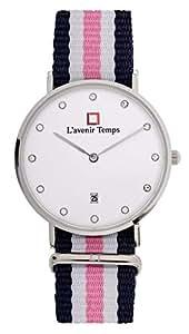 Lavenir Temps Women Diamond Silver with Pink Nato Strap Slim Dial