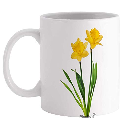 Moslion Daffodil Coffee Mug Nature Botanical Narcissus Flower Blossom with Leaf in Spring Mugs Tea Cup 11 oz Ceramic Wine Mugs for Women Men Home Boys Girls Yellow Green