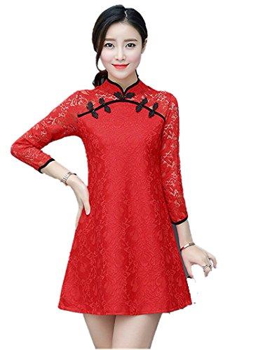 Hyunong Chinese Dress Cheongsam Dress Long Sleeve Dress Spring