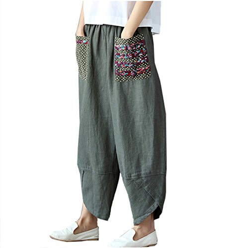 Big Leg Women (Women's Patchwork Wide Leg Linen Pants Trousers with Big Pockets (Medium, Green))