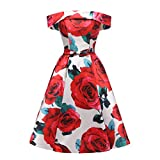 Beilite Women's Floral Print Short Homecoming Dresses Off Shoulder Satin Party Dresses Red&White 16