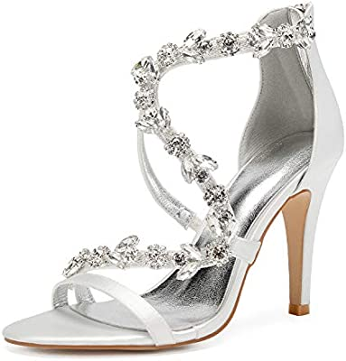 Llbubble Women High Heels Satin Crystals Wedding Bridal Sandals