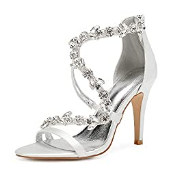 Open Toe Zipper Back Strap High Heel Ivory Sandals