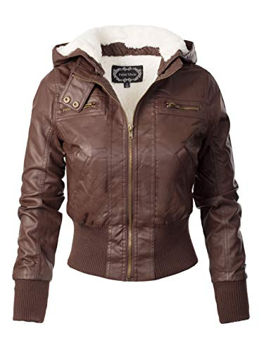Design by Olivia Women's Faux Leather Detachable Hood Sherpa Lining Bomber Jacket Coffee S (Womens Brown Leather Bomber Jacket With Hood)