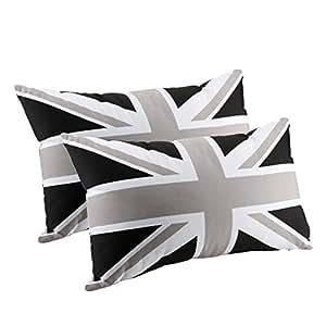 Amazon Com 2pcs Black Grey Union Jack Polyester Lumbar