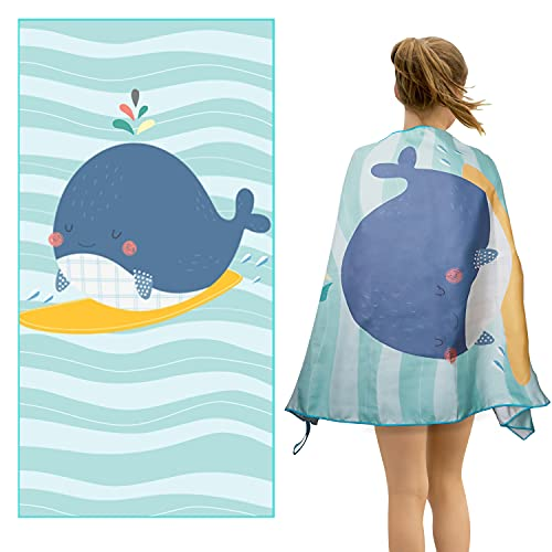Microfiber Beach Towel for Kids, Absorbent Quick Dry, Sand Free, Lightweight Towel for Sports, Pool, Picnic, Camping, Travel, Swim