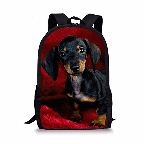 Bigcardesigns Dachshund Fashion Travel Shoulder Bag Kids Schoolbag Sports Backpack Unisex