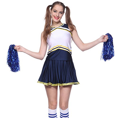 Diy Womens Football Costume (Fashoutlet Blank DIY Print High School Cheerleader Uniform Fancy Dress)
