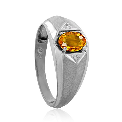 Mens Diamond And Oval Citrine Ring In 10K White Gold