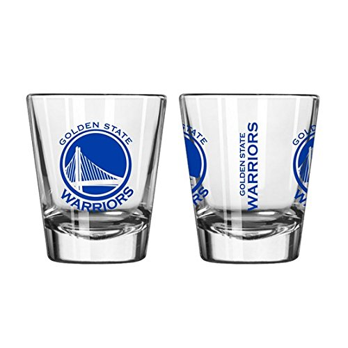 Official Fan Shop Authentic NBA Logo 2 oz. Shot Glasses 2-Pack Bundle. Show your Basketball Team Pride at home, your Bar or at the Tailgate. (Golden State Warriors)