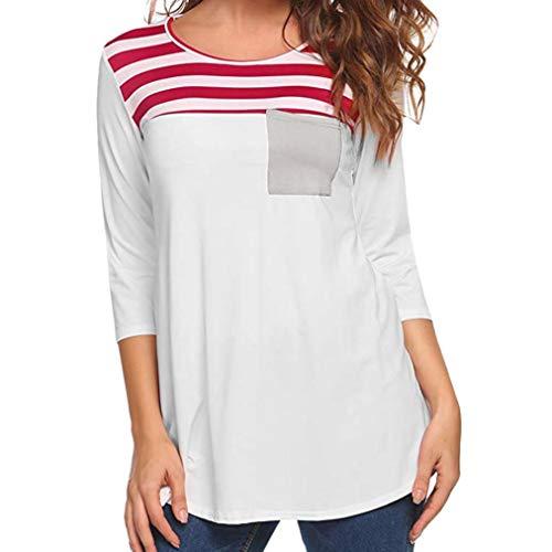 Jacket Costume Straight Australia (URIBAKE Women Casual Stripe Printed Pocket Tunic Shirt Long Sleeve Ladies' Blouse Tops Tees)