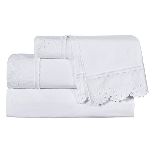 (Five Queens Court Eyelet 4-Piece Sheet Set, Ribbon Trim, Embroidered, 100% Cotton, Deep Pocket, West Coast King, White)