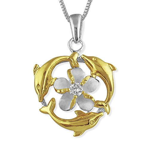 Sterling Silver with 14kt Yellow Gold Plated Accents Triple Dolphin Plumeria Pendant Necklace, 16+2
