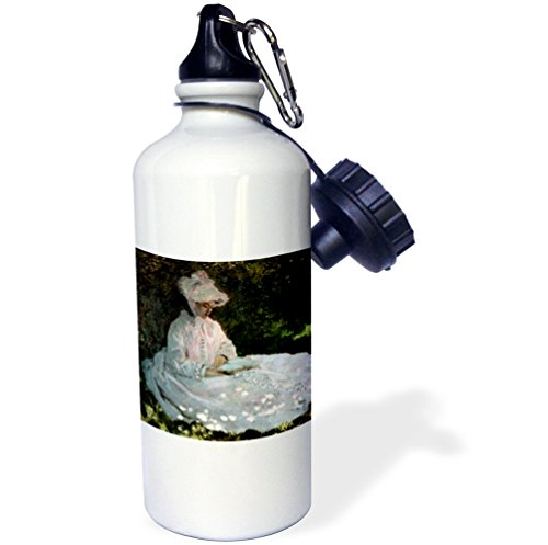 3dRose Woman Reading, Claude Monet Painting, Dated 1872, PD-US-Sports Water Bottle, 21oz (wb_179202_1), 21 oz, ()