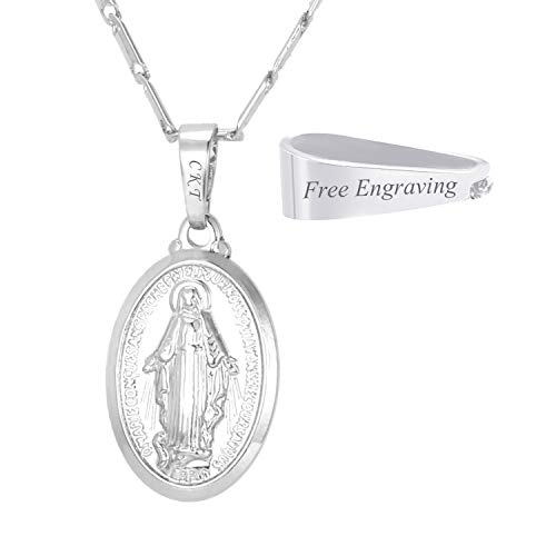 (U7 Platinum Plated Virgin Mary Necklace with Custom Engrave Service Oval Miraculous Medal Pendant & Chain 22 Inch, Men Women Catholic Religious Gift)