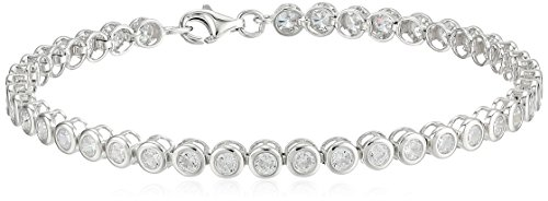Sterling Silver Cubic Zirconia Bezel Set Tennis Bracelet, (Bezel Set Gemstone Bracelet)