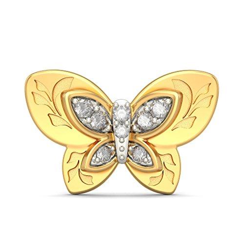 18K Or jaune 0.12CT TW White-diamond (IJ | SI) Boucles d'oreille à tige