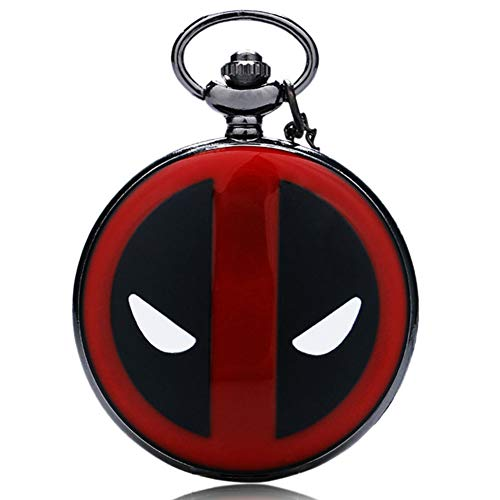 (Movie Black&red Dial Deadpool Mask Quartz Pocket Watch Necklace Chain Pendant Mens Womens Xmas Gifts)