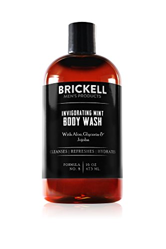 Brickell Men's Invigorating Mint Body Wash for Men, Natural and Organic Deep Cleaning Shower Gel with Aloe, Glycerin, and Jojoba, Sulfate Free, 16 Ounce, Scented