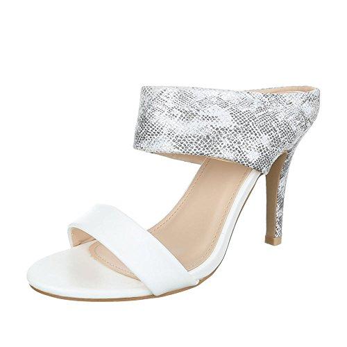 Ital-Design - Sandalias de vestir de Material Sintético para mujer Grau Weiß