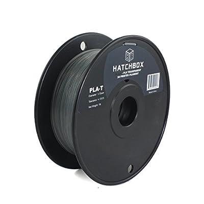 HATCHBOX 3D PLA-1KG1.75-TBLK PLA 3D Printer Filament, Dimensional Accuracy +/- 0.05 mm, 1 kg Spool, 1.75 mm, Transparent Black