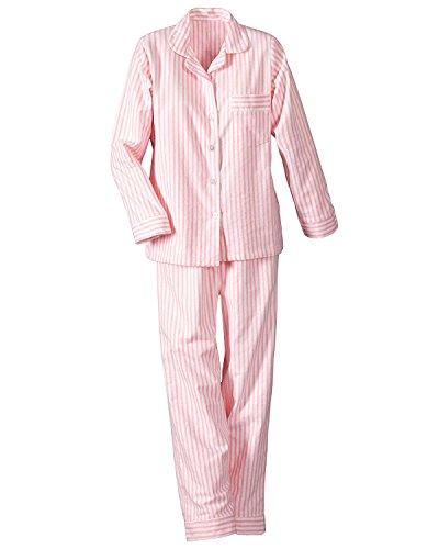 National Long Sleeve Woven Striped Pajamas, Pink, Large - Misses Long (Striped Woven Cotton Pajamas)