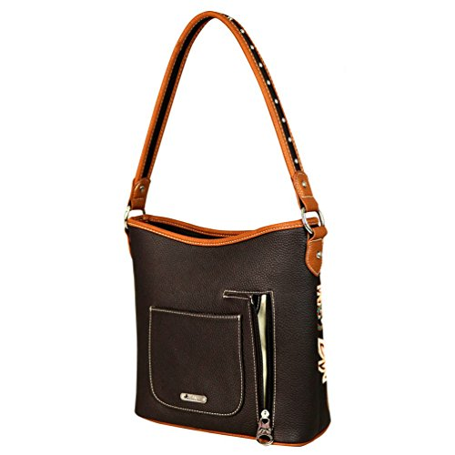 Purse Montana West Embroidered Carry 116 MW560G up Hobo Handbags Coffee Concealed Lace F81ZSF