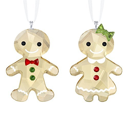 Swarovski Gold Ribbon - Swarovski Crystal Gingerbread Couple Ornament Set