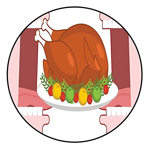 Hua Wu Chou Round Splat matfire Pit mat Round D2'3/0.7m Happy Thanksgiving eat Cooked Turkey Open Mouth to Make Roast Fowl on Plate with Apples Historic Family Holiday in America