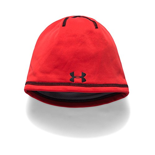 Under Armour Boys' ColdGear Reactor Elements Beanie, Red/Black, One Size