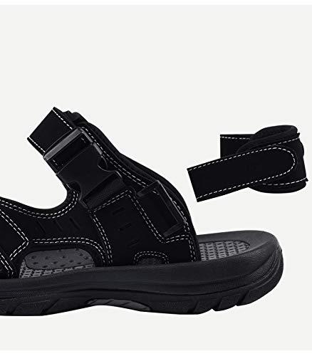 spiaggia scarpe pantofole Baotou Sandali scarpe pelle in in uomo doppio estate pelle fresca da antiscivolo Nero da a WFL traspiranti uso W8qYUdTqp