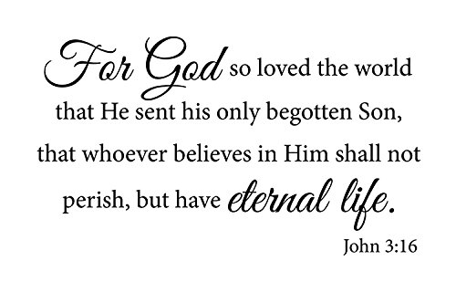 Newclew for God so Loved The World That he Sent his only Begotten Son, That Whoever Believes in him Shall not Perish, but Have Eternal Life. John 3:16 Wall Art Sayings Sticker Décor Decal (John Wall Decal)